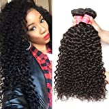 Jolia Hair Virgin Brazilian Curly Hair Weave 3 Bundles, 7A Unprocessed Brazilian Virgin Human Hair Weave Extensions , Natural Black Hair Color, Can be Dyed and Bleached