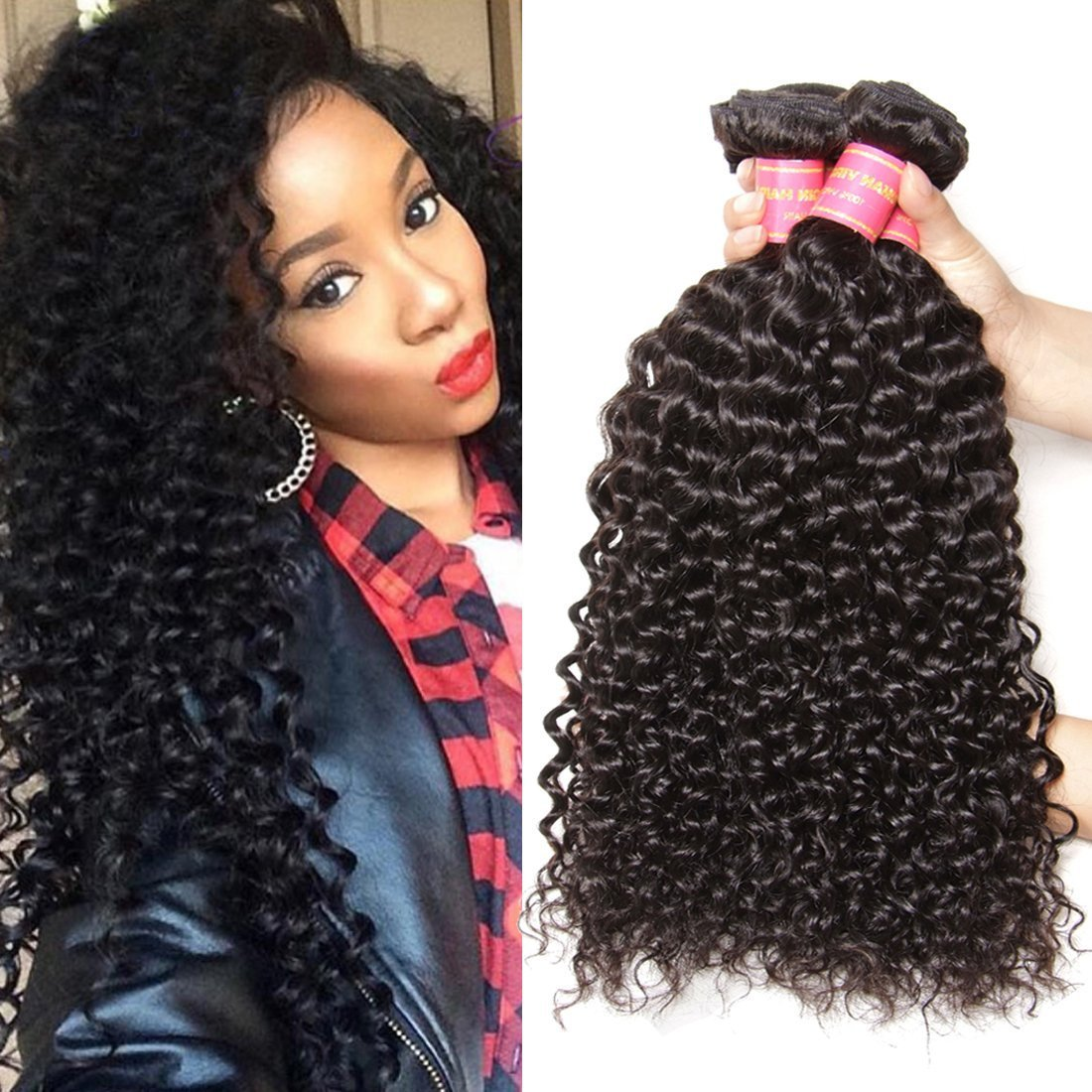Amazon jolia hair virgin brazilian curly hair weave 3 amazon jolia hair virgin brazilian curly hair weave 3 bundles 7a unprocessed brazilian virgin human hair weave extensions natural black hair color pmusecretfo Image collections