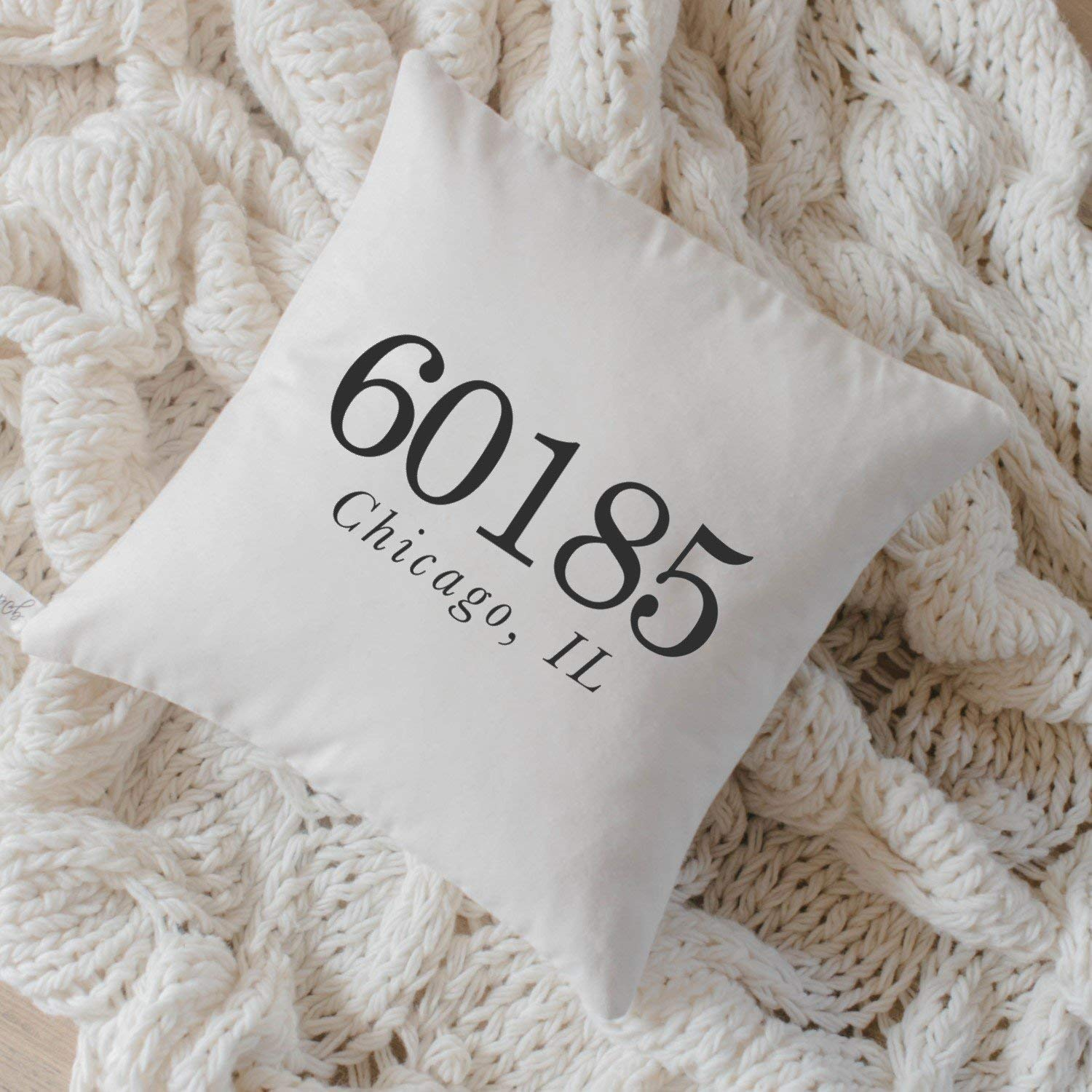 Amazon Com Personalized Throw Pillow Zip Code Handmade In The Usa Calligraphy Home Decor Wedding Gift Engagement Present Housewarming Gift Cushion Cover Throw Pillow Handmade