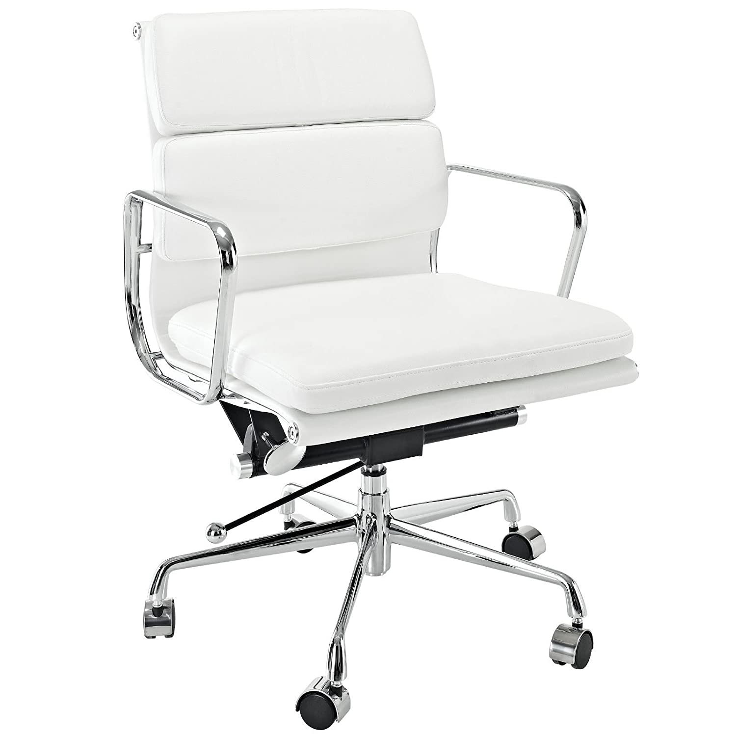 Amazon com emodern furniture emod eames style softpadded management office chair reproduction leather white kitchen dining