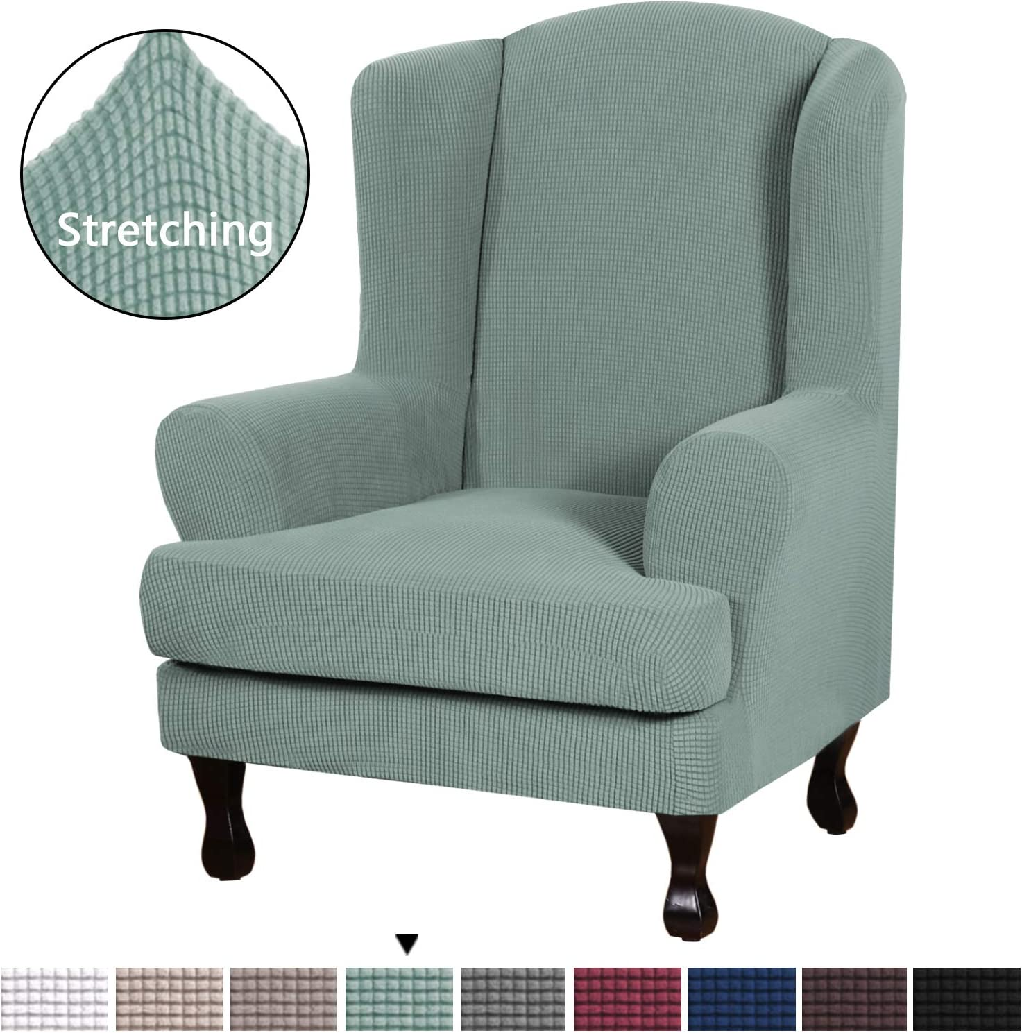 Elegant Luxury High Spandex Sofa Cover Stretch Jacquard Furniture Protector, 2 Piece Super Stretch Stylish Furniture Cover/Wingback Chair Cover Slipcover Machine Washable, Cyan, Wing Chair