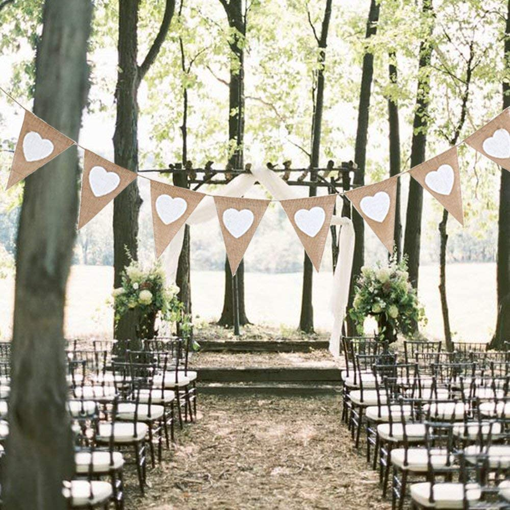 f/ür Geburtstag Hochzeit Wimpel Girlande Married Jute Bunting Banner Herz Wimpelkette Jute Stoff Deer Platz 2 St/ück Wimpelkette Leinen