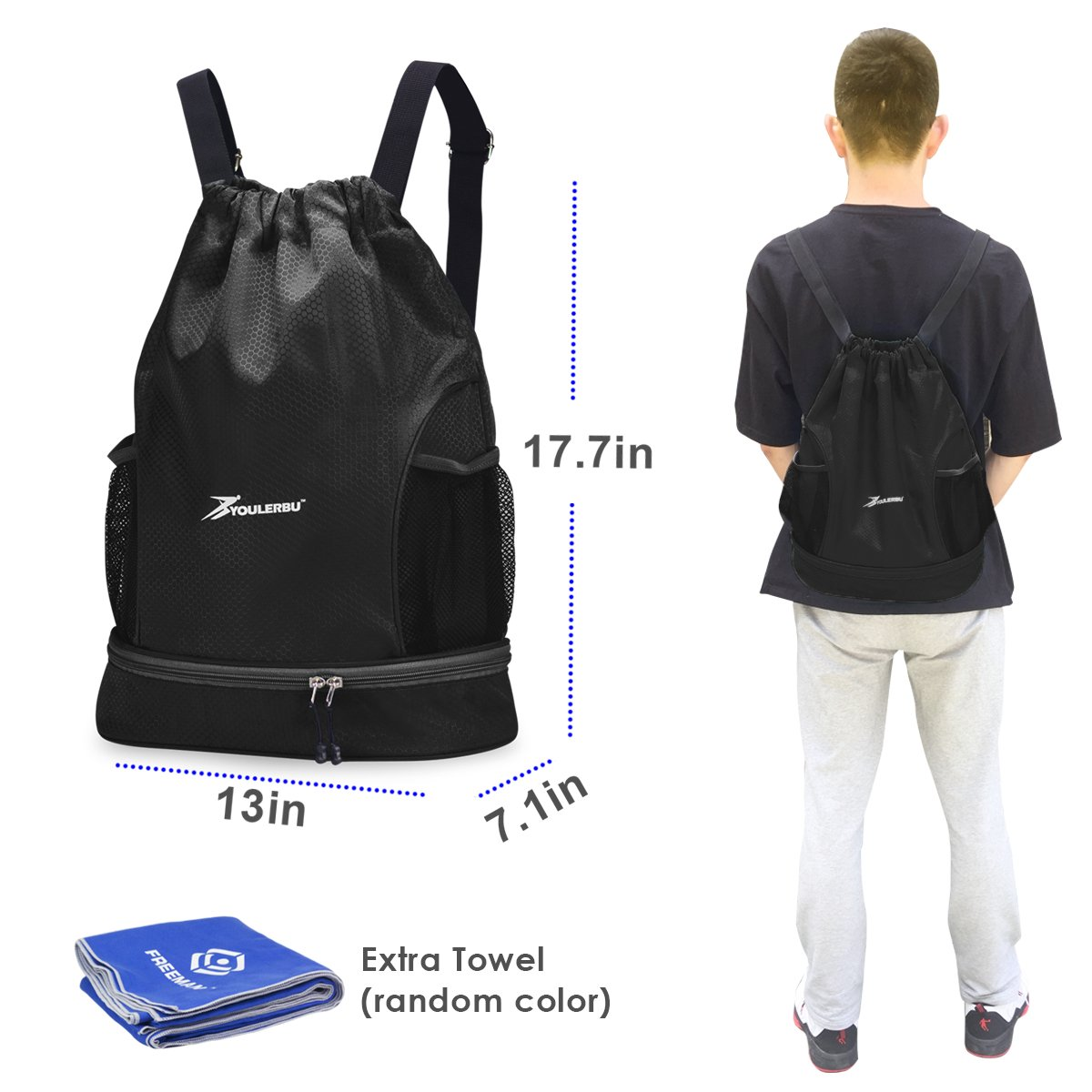 YOULERBU Gym Drawstring Bag, Sports Backpack with Shoe Compartment, Swim Bag with Wet Dry Compartments for Women Men (Black) by YOULERBU (Image #4)