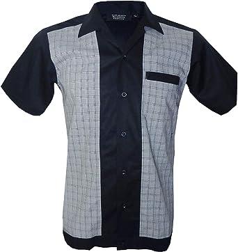 Relco Men/'s Black Bowling Open Neck Vintage Ten Pin 1950/'s Rockabilly Top Shirt