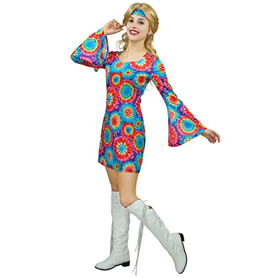 Hippie Dress | Long, Boho, Vintage, 70s Hippie Costume 60s 70s Flower for Women $23.59 AT vintagedancer.com