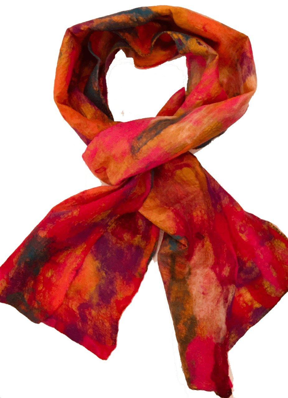 Teramasu One of a Kind Handmade Silk Merino Wool Multicolored Artist Scarf Style 4