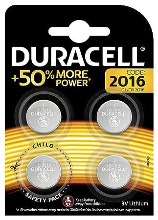 Duracell 2016 - Pila de botón de litio 3V, diseñada para dispositivos electrónicos, 4 unidades, cr 2016