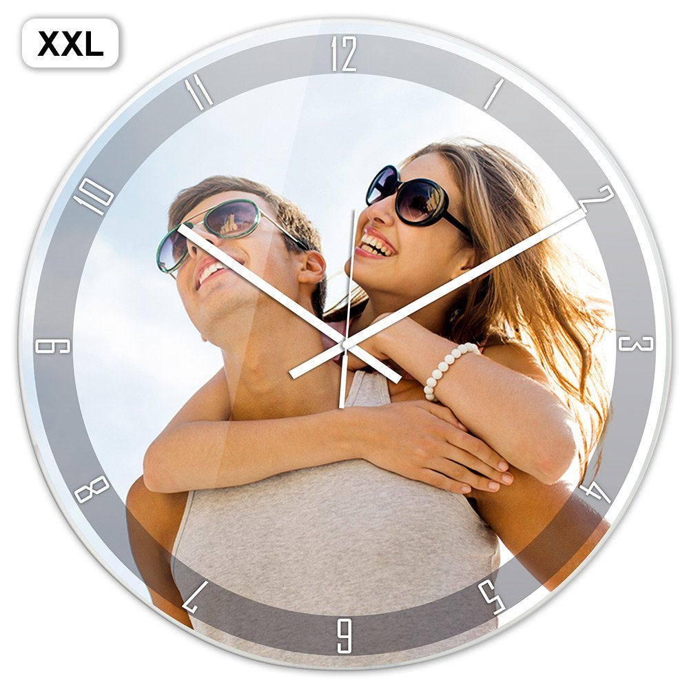 PhotoFancy® - XXL Uhr mit Foto bedrucken - Fotouhr Fotouhr Fotouhr aus Acrylglas - Wanduhr mit eigenem Motiv selbst gestalten 5d7e09