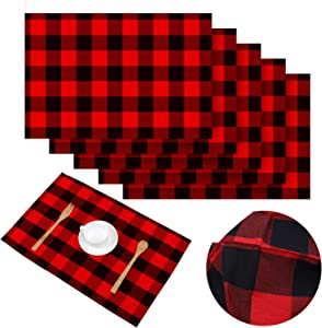 Aneco 6 Pack Buffalo Plaid Placemats Place Mats 13 x 19 Inches Checkered Double Layer Placemats Decorative Kitchen Cotton Table Placemats, Red and Black