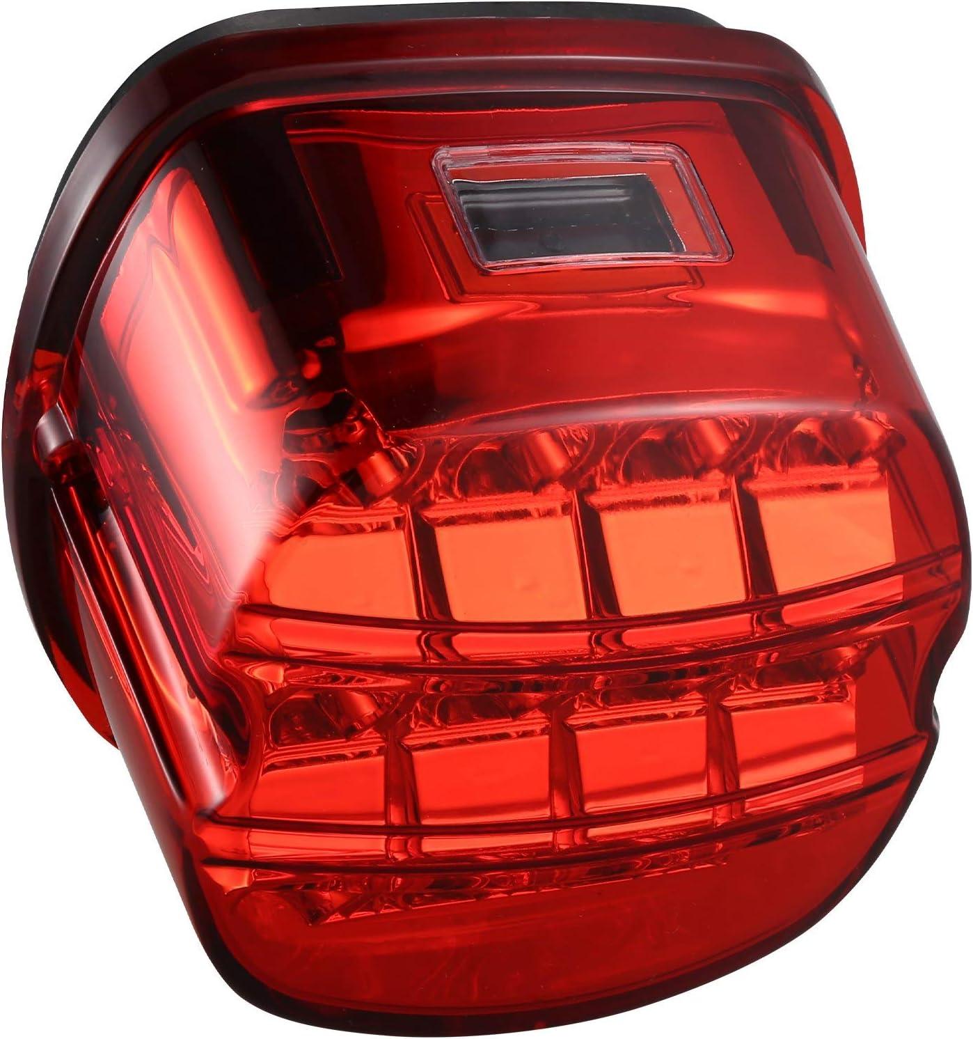Vaorwne Lampe Arri/èRe de Moto /à LED pour Feu Arri/èRe de Plaque DImmatriculation 12V pour Accessoires de Moto Glissement Large Low Rider FatBob Noir