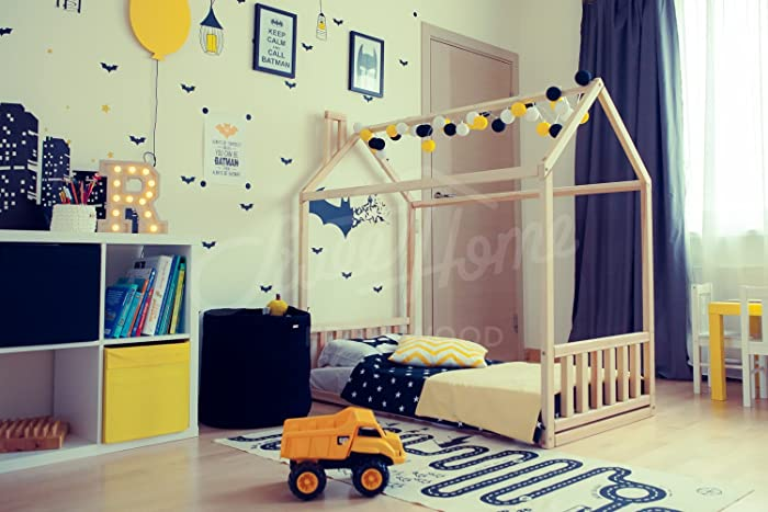 Amazon.com: Wood house, baby bed, floor bed, frame bed, toddler bed ...