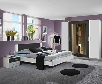Dreams4Home Schlafzimmerkombination \'Cult III\', Schlafzimmer, weiß,  anthrazit, Kleiderschrank, Bett, Konsolen, Schlafzimmer,  Liegefläche:180x200 cm