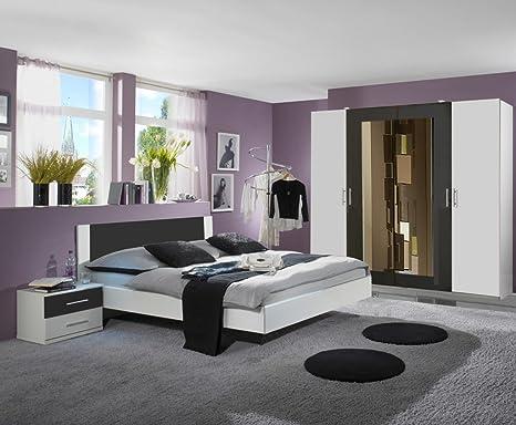 Dreams4Home Schlafzimmerkombination \'Cult III\', Schlafzimmer, weiß,  anthrazit, Kleiderschrank, Bett, Konsolen, Schlafzimmer,  Liegefläche:160x200 cm