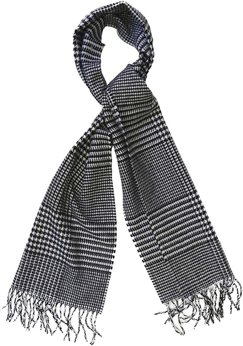 Topaz Sun Mens Black and White Classic Houndstooth Cashmere Scarf