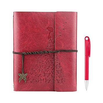YAOHU Libreta Bonitas, Cuaderno de Cuero Vintage Diario de Viaje Recargable Bloc de Notas con Páginas en Blanco Regalo original San Valentín Navidad ...