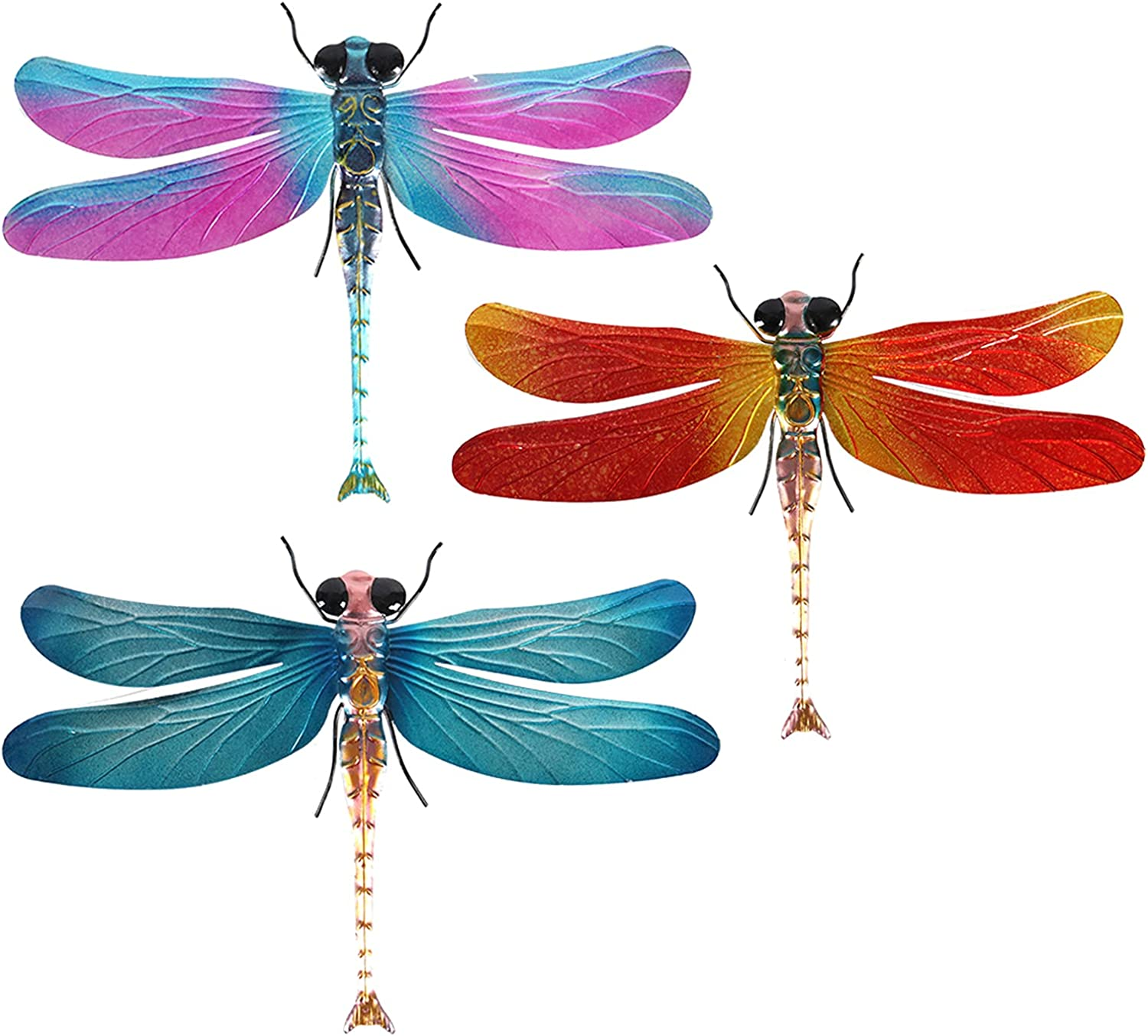 XIUDEEN Metal Dragonfly Outdoor Wall Decor, Set of 3 Dragonfly Metal Wall Art for Deck Decor, Garden Shed, Fence, Yard, Patio, Porch, Bedroom, Living Room, Indoor or Outdoor Decorations