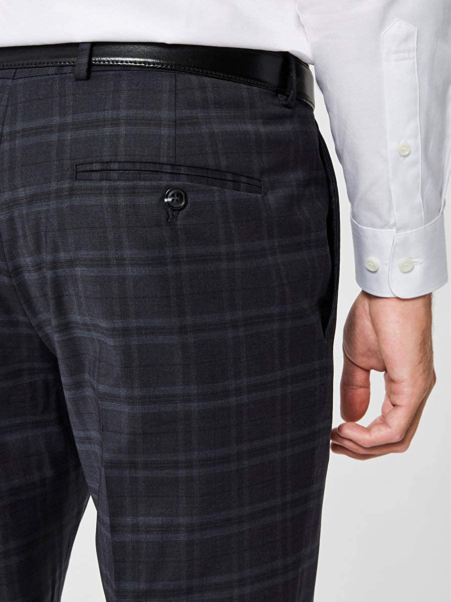 SELECTED HOMME Slhslim-mylocreed Navy Check TRS B Noos Pantaloni Completo Uomo