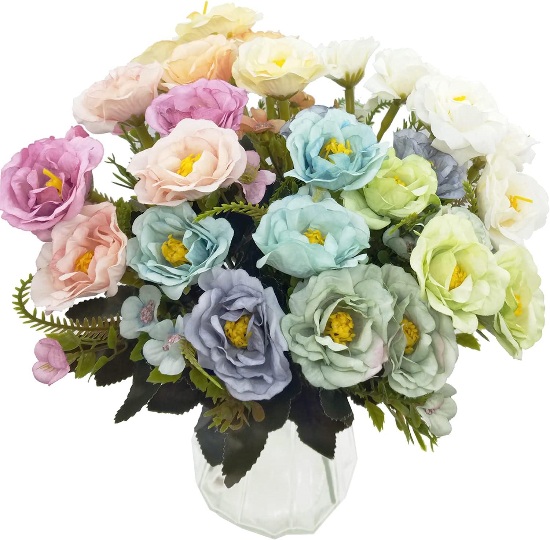 CORVYUC 5 Bundles Artificial Rose Silk Flowers Faux Fake Flower Bouquets Arrangements in Vase for Wedding Home Office Party Decor Table Centerpieces (Multi-Color)