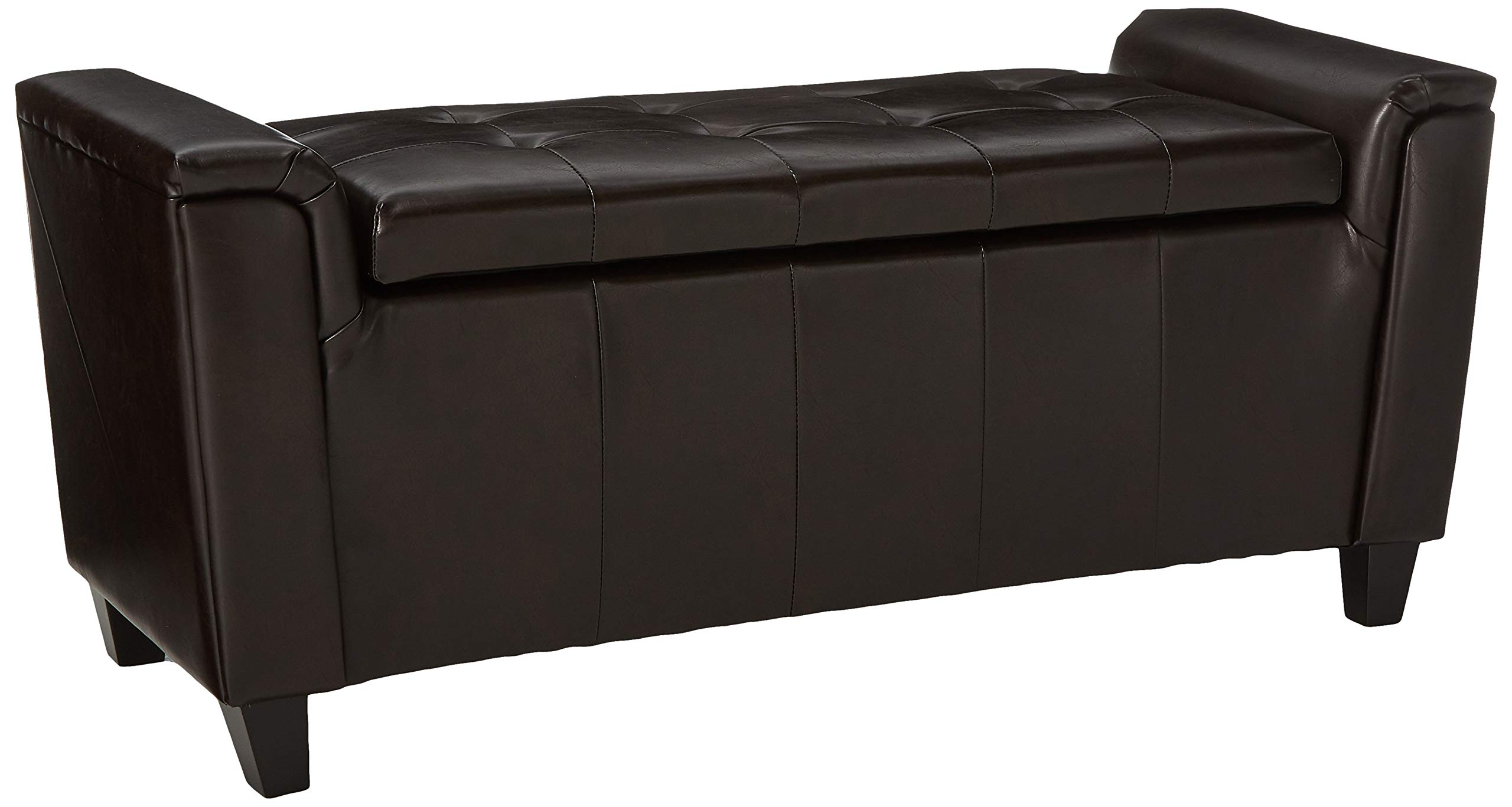 Christopher Knight Home Living James Brown Tufted Leather Armed Storage Ottoman Bench, 17. 50D x 45. 50W x 20.75H by Christopher Knight Home