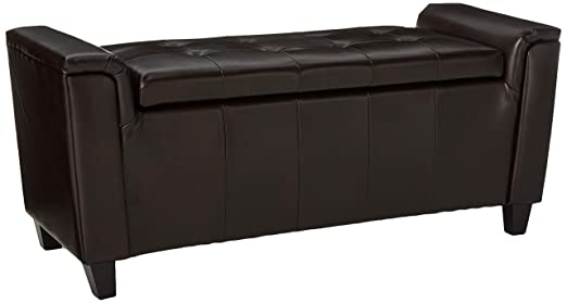 Christopher Knight Home 296763 Living James Brown Tufted Leather Armed Storage Ottoman Bench, 17. 50D x 45. 50W x 20.75H