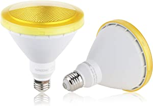 Yellow LED Bug Light Bulb, 2 Pack Par38 15W (100W Equivalent) 1300lm, E26 Medium Base Mosquito Repellent Light Bulb for Outdoor, Indoor, Porch, Patio, Yards, Home