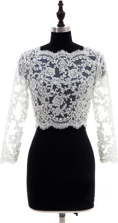bridal shrug long sleeve bridal jacket Wedding lace ivory color bolero
