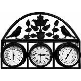 Bentley Garden - Horloge, thermomètre et hygromètre style shabby chic - noir