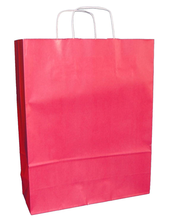 100 Farbe Twist Griff Tragetaschen, Papier, 31,8 x 12,7 x 40,6 cm (rot)