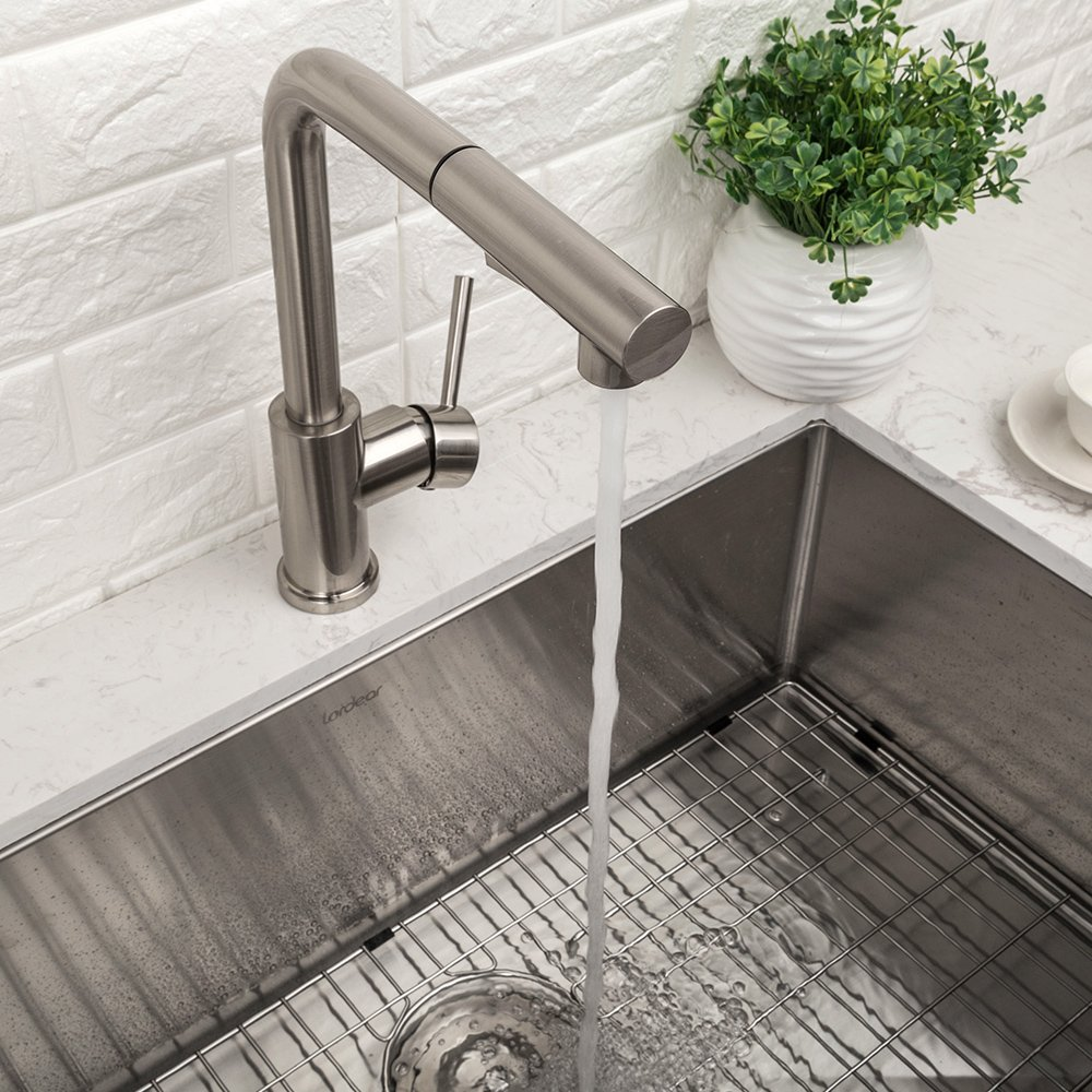 LORDEAR Bar Sink Faucet,Modern Style Stainless Steel 2 Water Function Setting Single Handle Pull Out with Sprayer Wet Bar Brushed Nickel Kitchen Faucet, Pull Down Kitchen Sink Faucet by Lordear (Image #4)