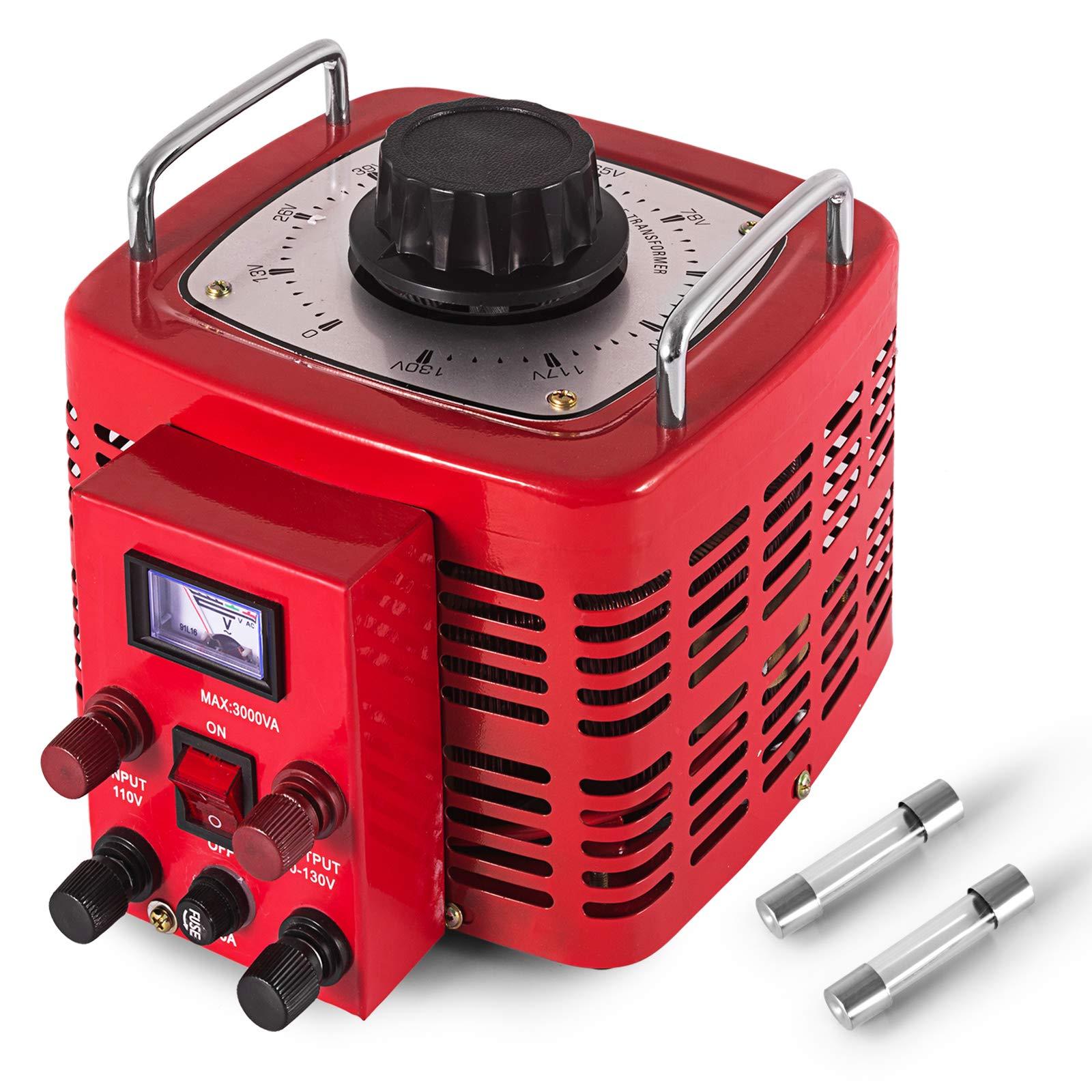 VEVOR 3KVA Transformer Max 30 Amp Variable Transformer 0~130 Volt Output Variable AC Voltage Regulator for Industries Equipment Appliances