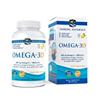 Nordic Naturals Omega-3D, Lemon Flavor - 690 mg Omega-3 + 1000 IU Vitamin D3-120 Soft Gels - Fish Oil - EPA & DHA - Immune Support, Brain & Heart Health, Healthy Bones - Non-GMO - 60 Servings