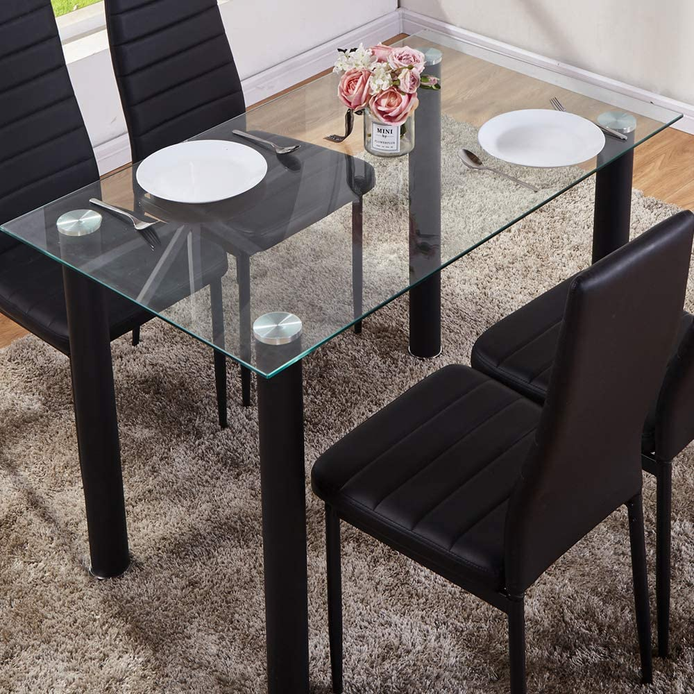 Goldfan Glass Dining Table Modern Rectangle Clear Glass Kitchen Dining Table With Black Chrome Legs For Living Room Lounge Office Only Table Amazon Co Uk Kitchen Home