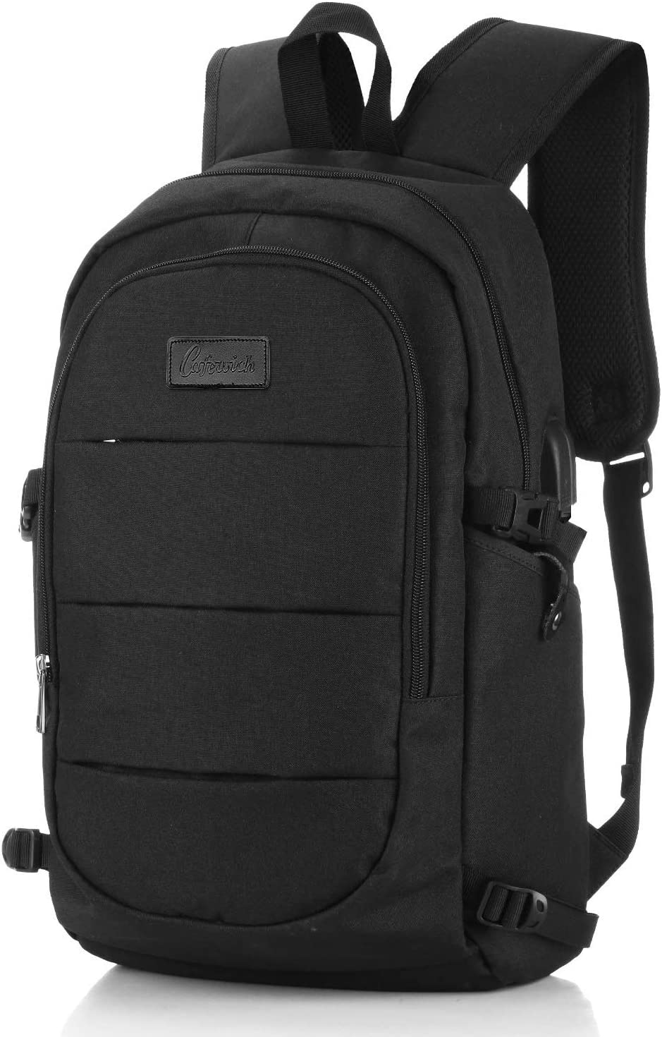 Laptop Backpack Business with USB Charging Port Computer Bag Student Bag for Women Men 15.6In-Black