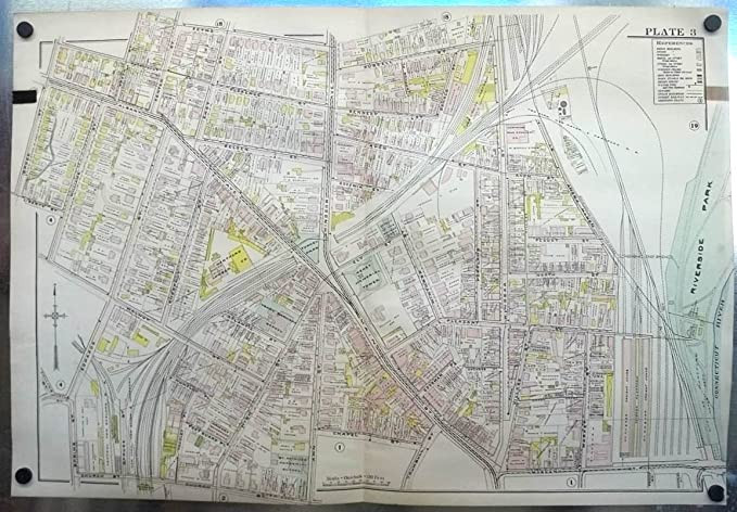 1909 Hartford CT Map: RR Yards; Keney Tower; Lumber Co; Smith ...