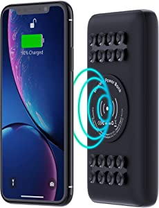 Techsmarter 20000mAh 18W USB-C PD Qi Wireless Power Bank Portable Charger with Powerful Suction Cups. Compatible with iPhone 12, 11, SE 2020, X, XR, XS, 8, Samsung S20, S10, S9, S8, S7 and More