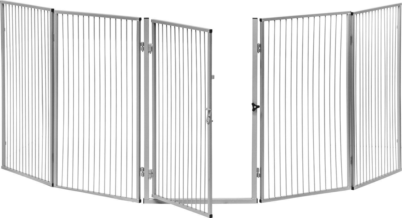 IB-Style - Kaminschutzgitter Luam | 7-tlg. - 315 cm | silber | Absperrgitter Schutzgitter Sicherheitsgitter Treppengitter Türschutzgitter Hundeabsperrgitter | öffnet wie ein Türchen | Variabel aufstellbar | Türchen mit Sicherheitsverschluss