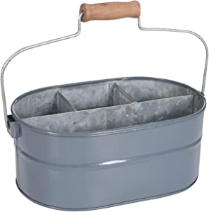 Galvanized Metal Caddy with 4 Compartments, Kitchen Utensil Holder, Drink Tub Caddy, Picnic Caddy, Serveware Utensil Organizer, Multipurpose Storage Bin With Handle- 12 Inch- Charcoal