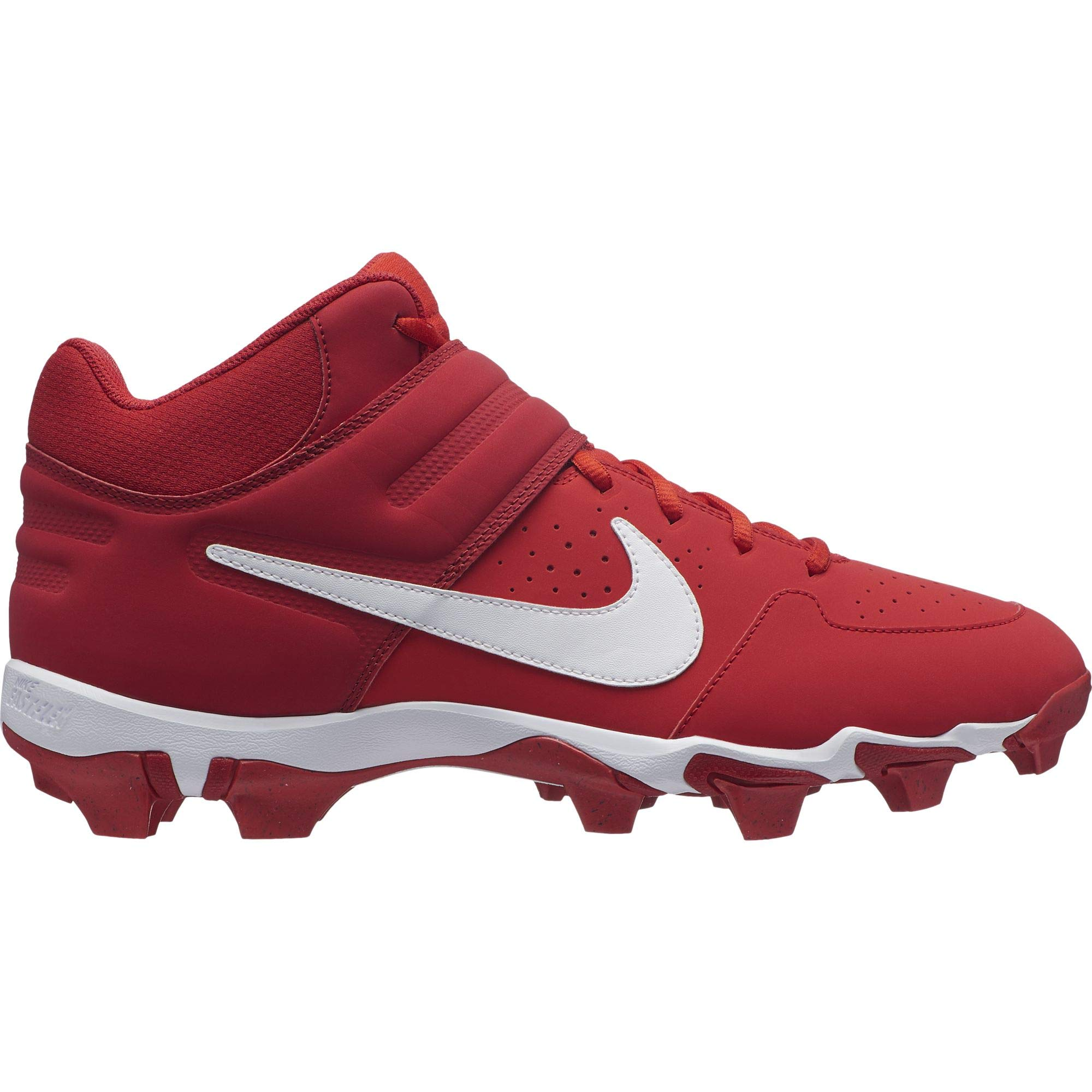 Nike Men's Alpha Huarache Varsity Keystone Mid Molded Baseball Cleat University Red/White Size 8.5 M US