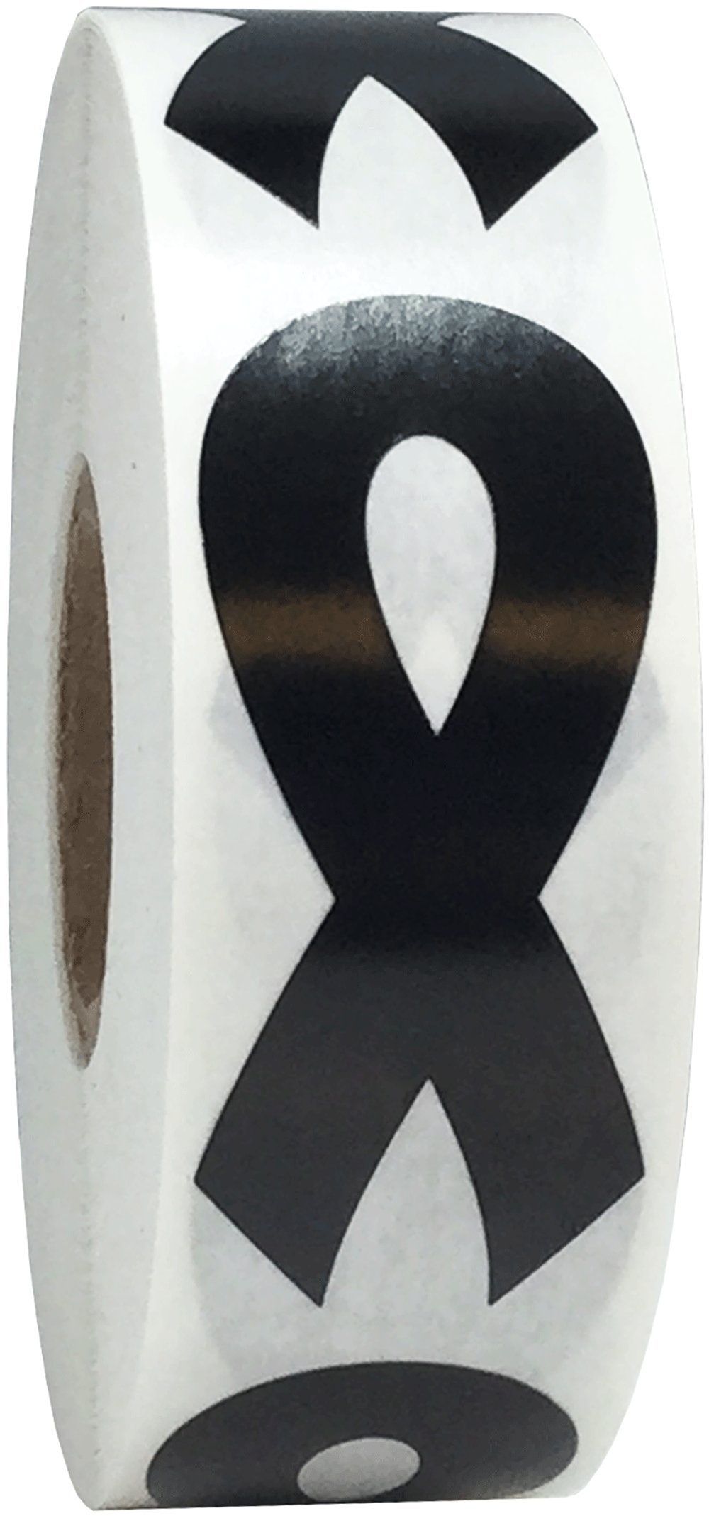 Black Awareness Ribbon Stickers 2 Inch 500 Total Adhesive Labels