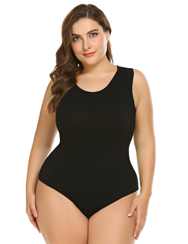 IN VOLAND Women Bodysuit Plus Size Short Sleeve Sleeveless Bodysuits  Scoop V Neck Leotards Basic Top Sexy Bodycon at Amazon Women s Clothing  store  3dd05ffa4