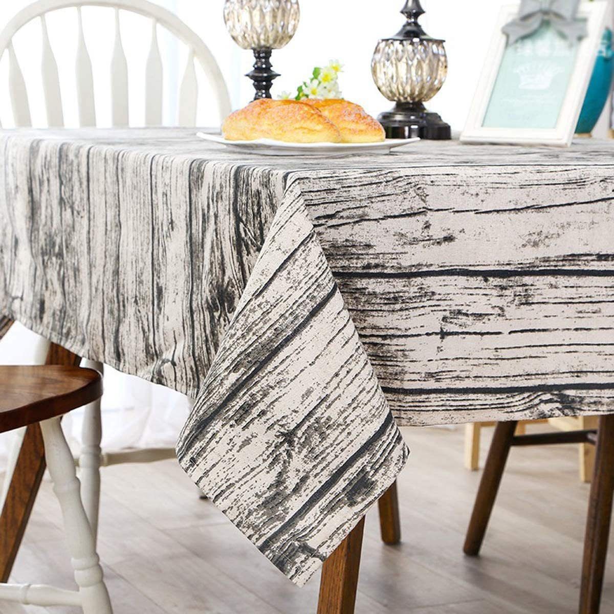 Bringsine Washable Cotton Linen Vintage Wooden Grain Pattern Design Square Tablecloth Dinner Picnic Table Cloth Cover Home Decoration(Square, 24 x 24 Inch)
