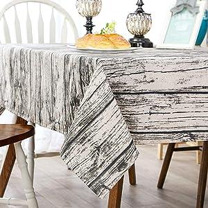 Bringsine Washable Cotton Linen Vintage Wooden Grain Pattern Design Square Tablecloth Dinner Picnic Table Cloth Home Decoration Assorted Size