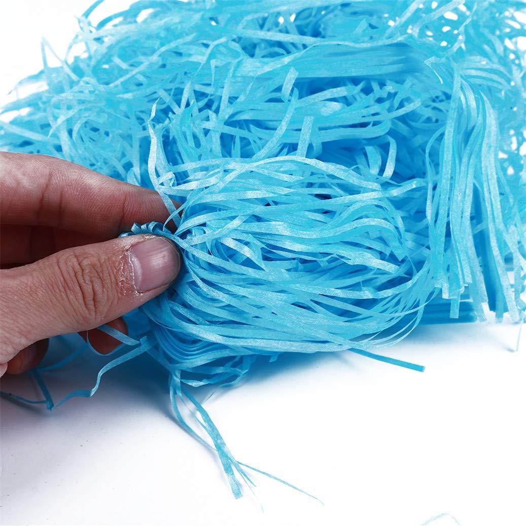 Pack blue GOMYIE Easter Grass Shredded Tissue Paper Shreds Crinkle Paper For Easter Decoration Gift 100G