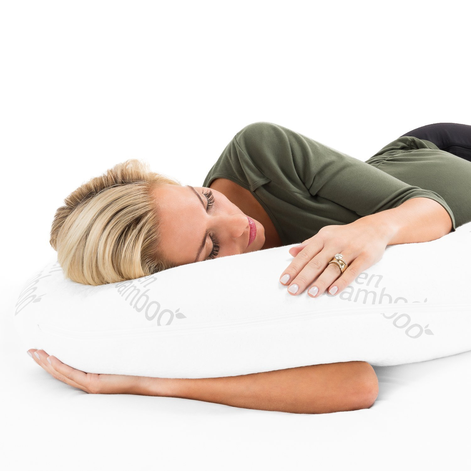 Zen Bamboo 1800 Series Full Body Pregnancy Pillow - Maternity & Nursing Support Cushion & Body Pillow with Ultra-Soft, Washable Rayon from Bamboo Blend Cover … by Zen Bamboo (Image #4)
