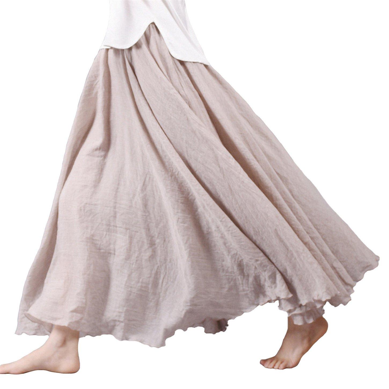 Vanbuy Women's Bohemian Style Elastic Waist Band Cotton Linen Long Maxi Skirt Z02-Beige