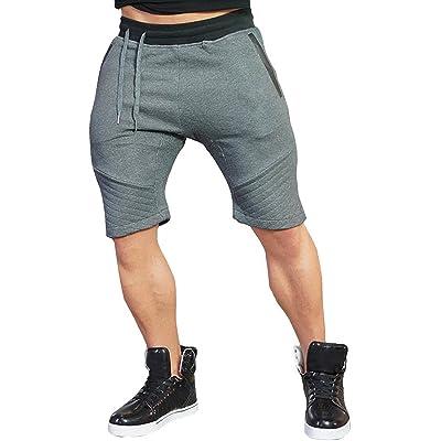 BigRabbit Men's Tapered Gym Workout Sweat Jogger Shorts