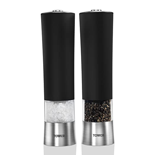 Tower T80400 Electric Salt and Pepper Mill Black Amazoncouk