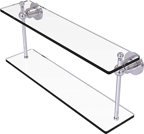Allied Brass AP-2 22 Astor Place Collection 22 Inch Two Tiered Glass Shelf, Satin Chrome