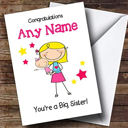 blonde big sister new baby congratulations baby girl personalized sibling greetings card