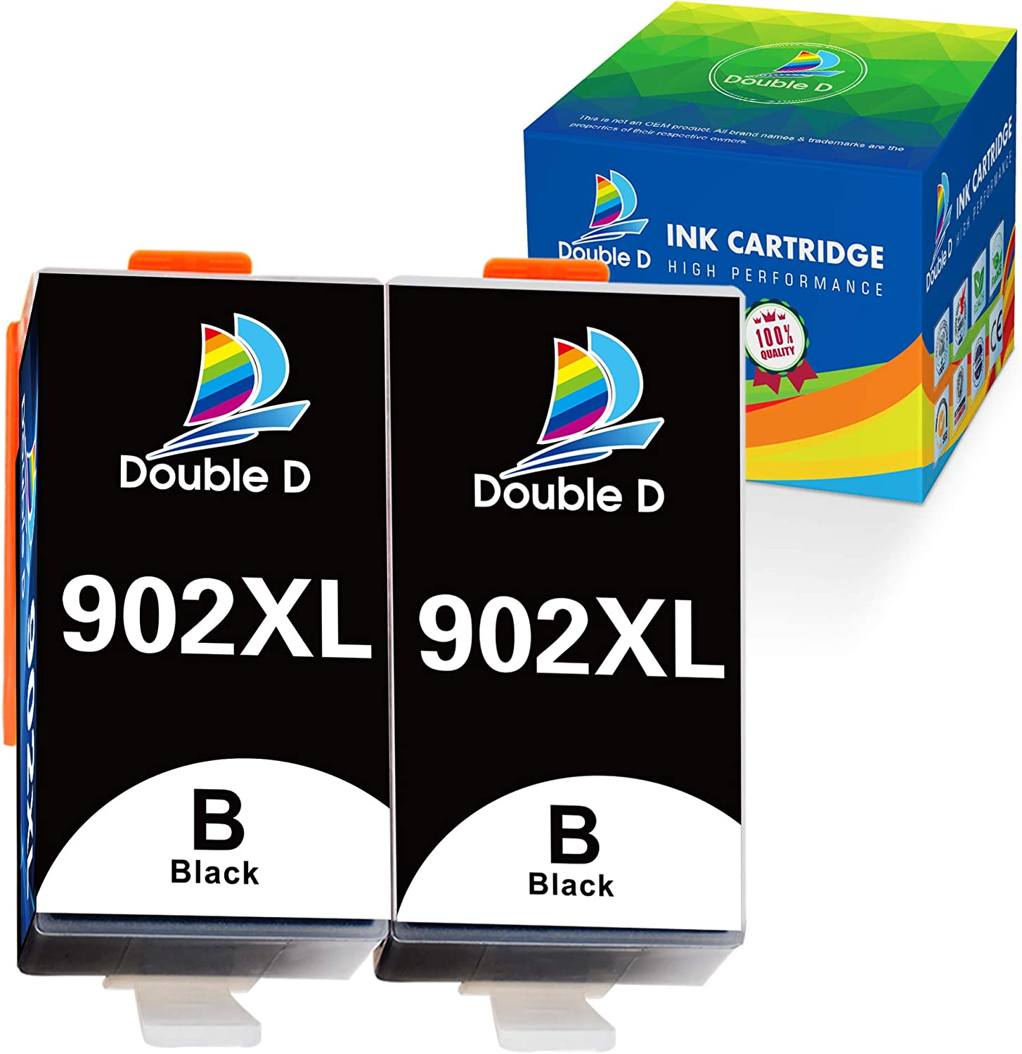 Double D 902XL Black Ink Cartridges Compatible Replacement for HP 902 902XL (Upgrade Chip) for HP OfficeJet Pro 6978 6962 6968 6975 6960 6970 6950 6954 6979 6951 Printer (2Black)